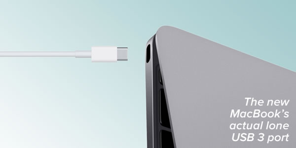 Caption: The new MacBook's actual lone USB 3 port / Photo: USB 3 plug being plugged into a new MacBook.