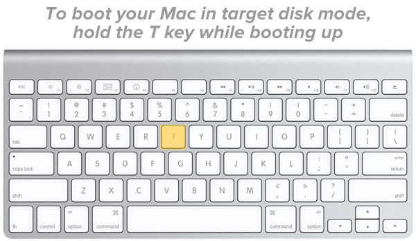 "Headline: To boot your Mac in target disk mode, hold the T key while booting up / Photo: Mac keyboard with the ""T"" key highlighted."