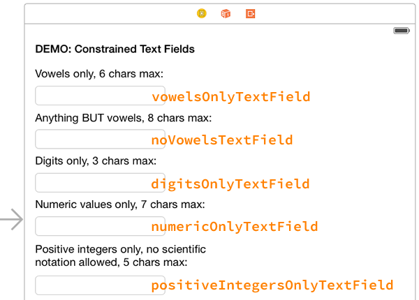 constrained text fields screenshot