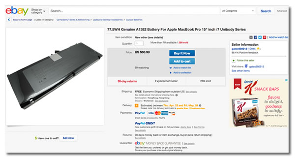 Screen capture: eBay page for an Apple A1382 laptop battery