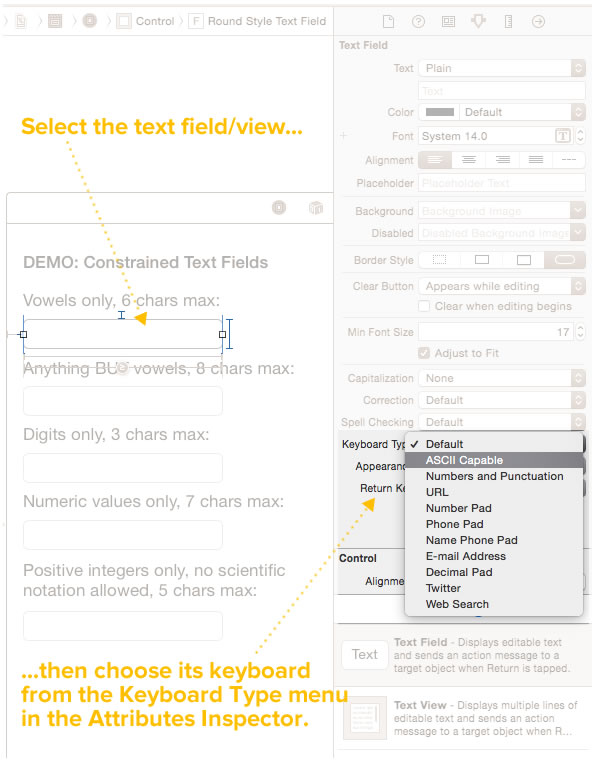 choosing keyboards in interface builder