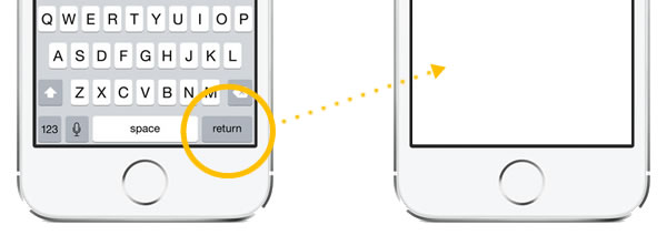 dismissing ios keyboard with return key