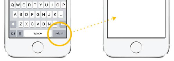 dismissing ios keyboard with return key