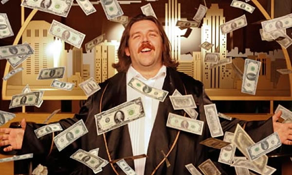 lawyer showered in money