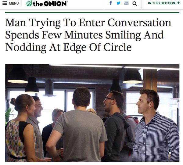 man trying to join conversation