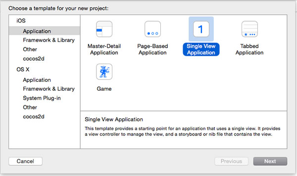 xcode new single view application
