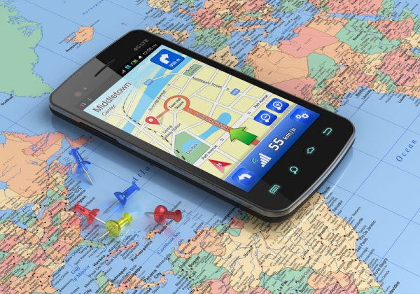 smartphone gps and map