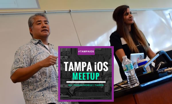 Tampa iOS Meetup banner with photo of Joey deVilla and Angela Don in the background.