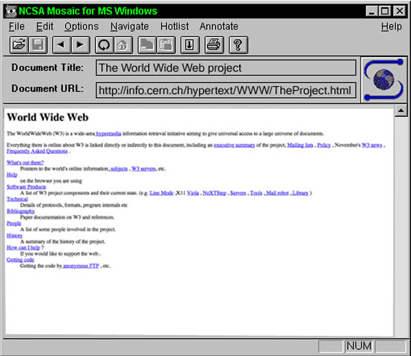 first web page in mosaic for windows browser