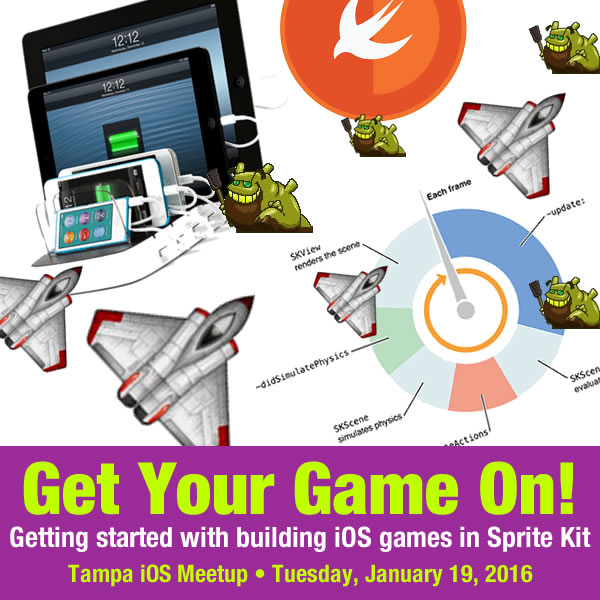 Poster: Get Your Game On! / Getting started with building iOS games in Sprite Kit / Tampa iOS Meetup - Tuesday, january 19, 2016 -- A hodgepodge of iOS gaming-related imagery.