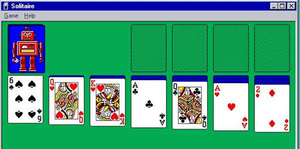 Screen shot of Microsoft Solitaire on Windows 3.1