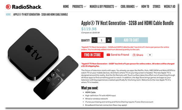 Screen shot: RadioShack's page for their 32gb Apple TV special.