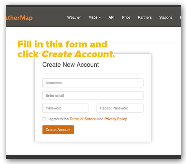 openweathermap create account form