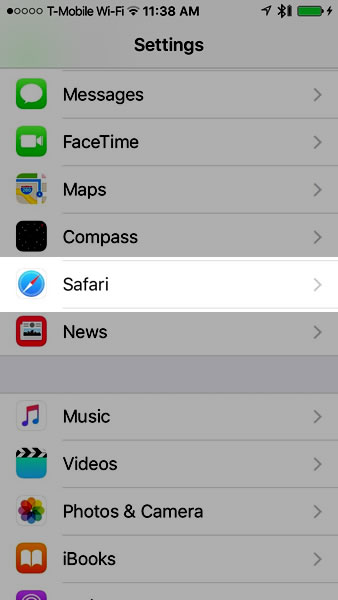 settings - safari