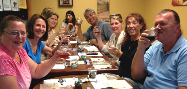 Anitra Pavka (3rd from left) and Joey deVilla (4th from right) at 'Wine-O Bingo' at Aspirations Winery, Clearwater, Florida.
