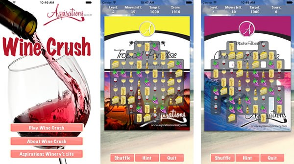 The title screen and two game screens from Wine Crush.