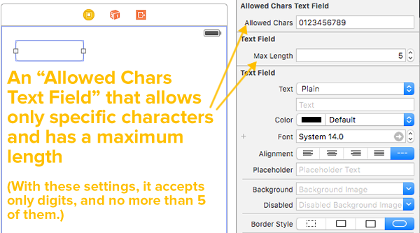 allowed chars text field