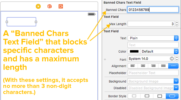 banned chars text field