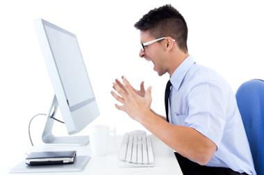 guy yelling at computer