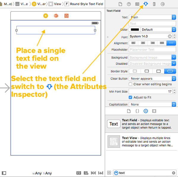 plain text field and attributes inspector