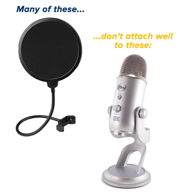 pop filter - blue yeti - hex dumbbell - 1