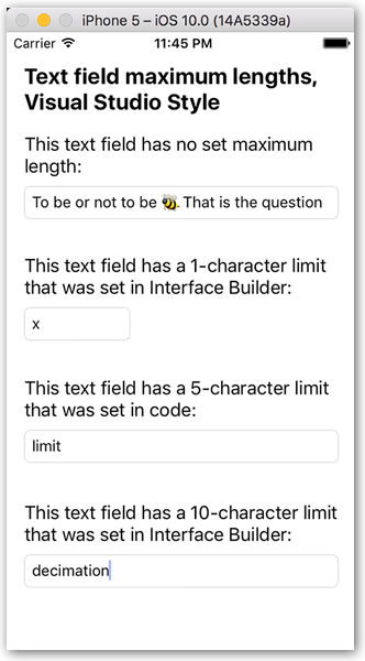 text field max lengths