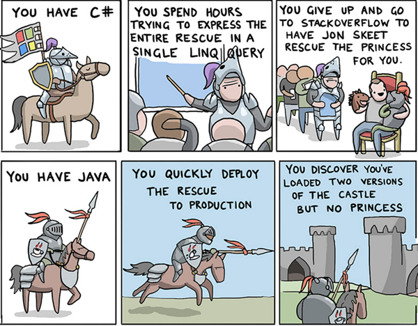 Two of the jokes from the 'Git the Princess! How to save the princess using 8 programming languages' comic.
