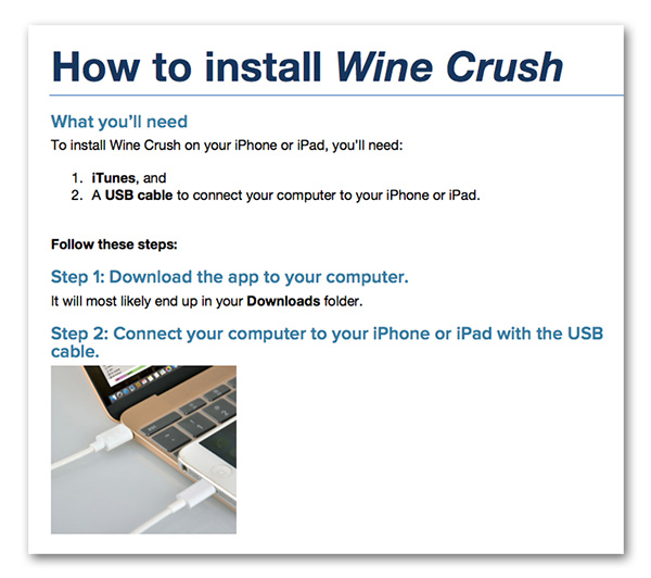 Screenshot of instructions on how to install the beta version of Wine Crush.