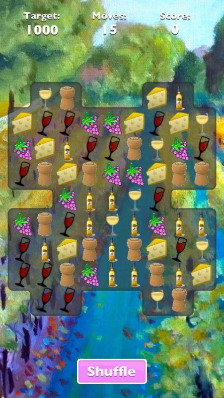 Screenshot of an early version of Wine Crush.