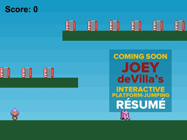 Iu0027m Still Looking For Work, So I Thought Iu0027d Show Off My Coding Skills And  Improve On Robbie Leonardiu0027s High Concept Interactive Platform Game Style  Resume ...  Video Game Resume