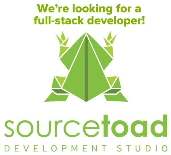 We're looking for a full-stack developer! (Picture of Sourcetoad logo.)
