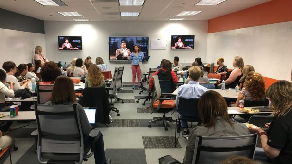 Photo: Betty Pierce speaks at the start of Women Who Code Tampa's 'All About Agile' meetup.