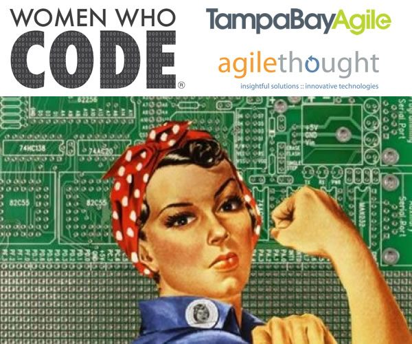 Graphic with Rosie the Riveter in front of a circuit board with the logos of Women Who Code Tampa Bay, Tampa Bay Agile, and AgileThought.