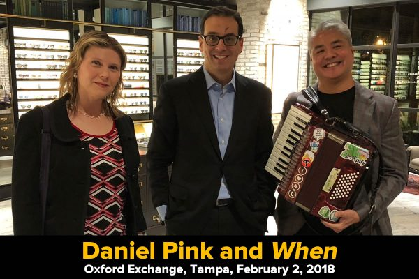 Daniel Pink with Anitra Pavka and Joey deVilla in the Oxford Exchange bookstore, Tampa, Florida, February 2, 2018.