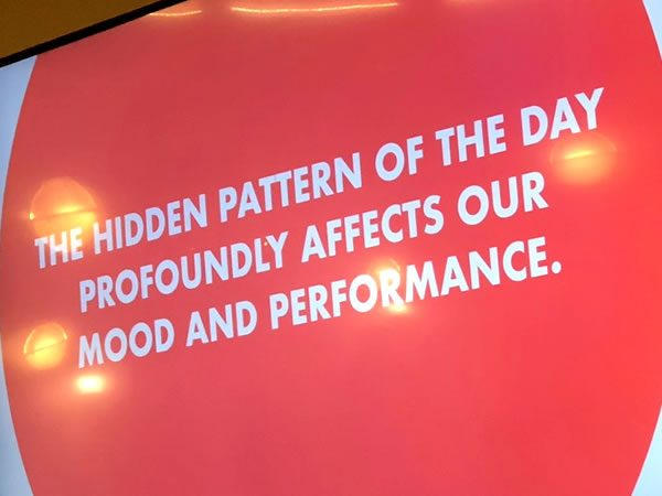 "Slide: ""The hidden pattern of the day profoundly affects our mood and performance."""