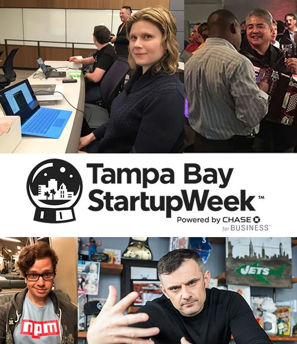 Tampa Bay Startup Week poster featuring Anitra Pavka, Joey deVilla, Laurie Voss, and Gary Vaynerchuk.