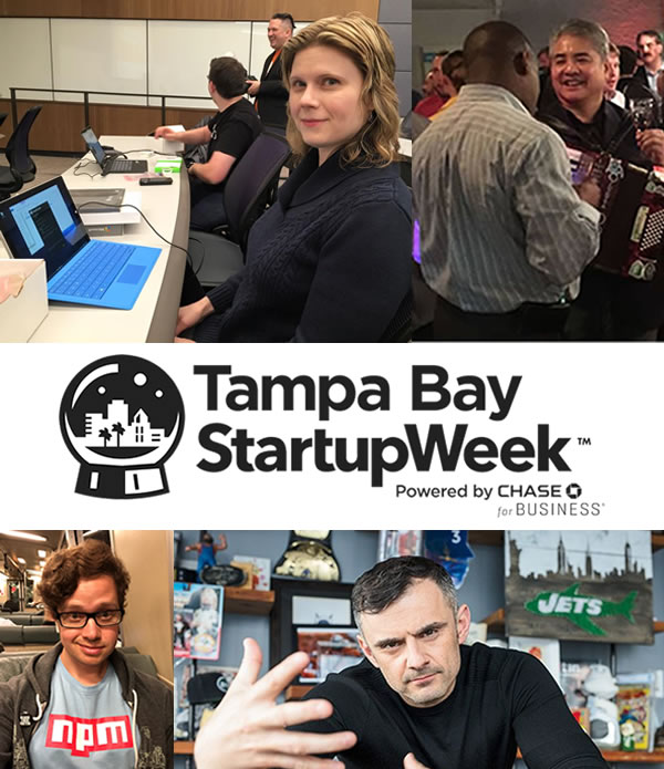 Tampa Bay Startup Week, featuring Anitra Pavka, Joey deVilla, Laurie Voss, and Gary Vaynerchuk.