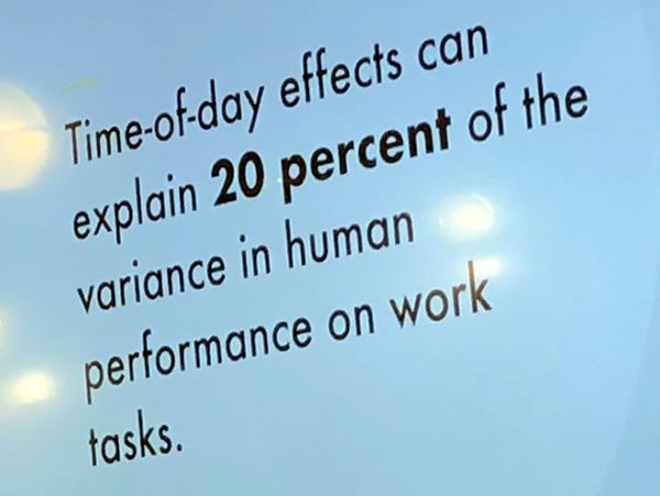 "Slide: ""Time-of-day effects can explain 20 percent of the variance in human performance on work tasks"""