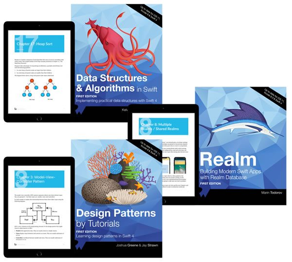 RayWenderlich.com iOS programming books: 'Data Structures & Algorithms in Swift', 'Realm: Building Modern Swift Apps with Realm Database', and 'Design Patterns by Tutorials'.
