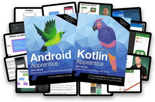 RayWenderlich.com Android programming books: 'Android Apprentice' and 'Kotlin Apprentice'.