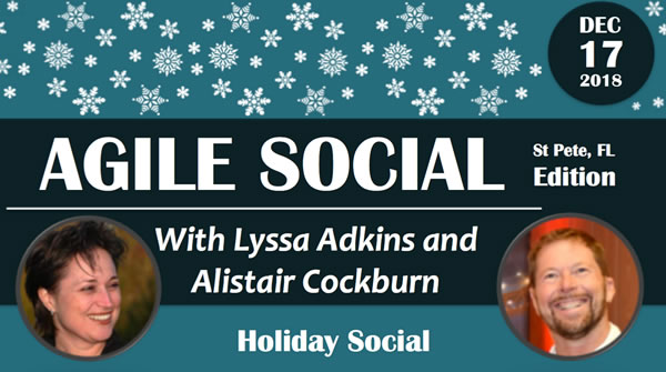 Graphic: Agile Social with Lyssa Adkins and Alistair Cockburn - Holiday Social - Dec 17