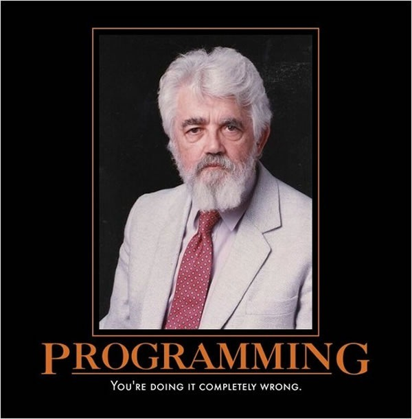 "Poster of John McCarthy with the title ""Programming: You're doing it completely wrong""."