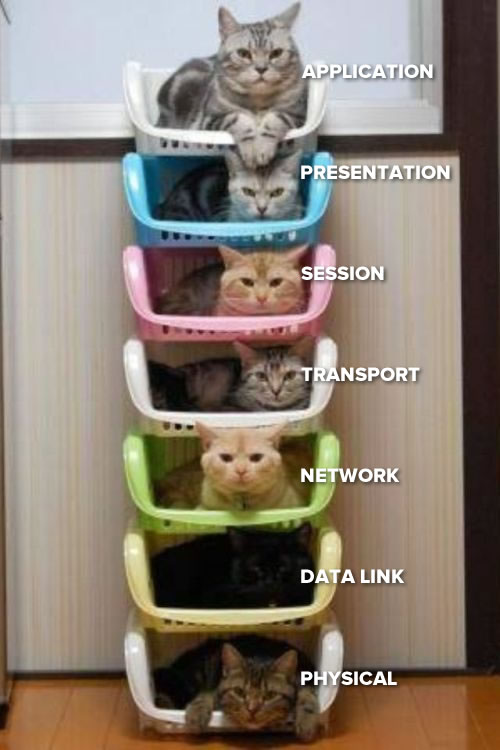 Photo: A stack of seven interlocking baskets, each with a cat. From top to bottom, the cats are labeled: Application, presentation, session, transport, network, data link, and phyiscal.