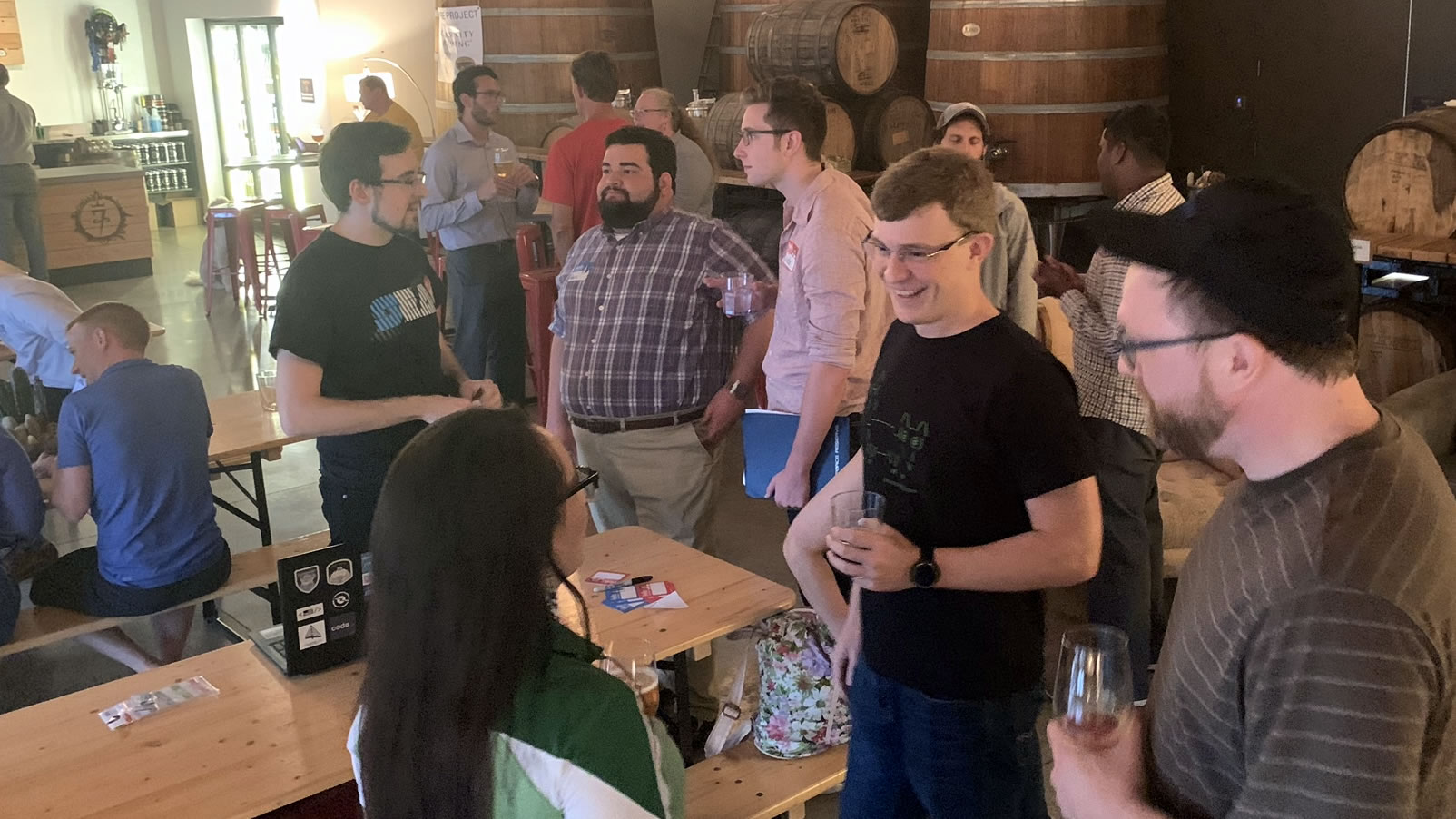 "More people arrive at the ""Coders, Creatives, and Craft Beer"" meetup, 7venth Sun Brewery, Tampa, July 9, 2019."