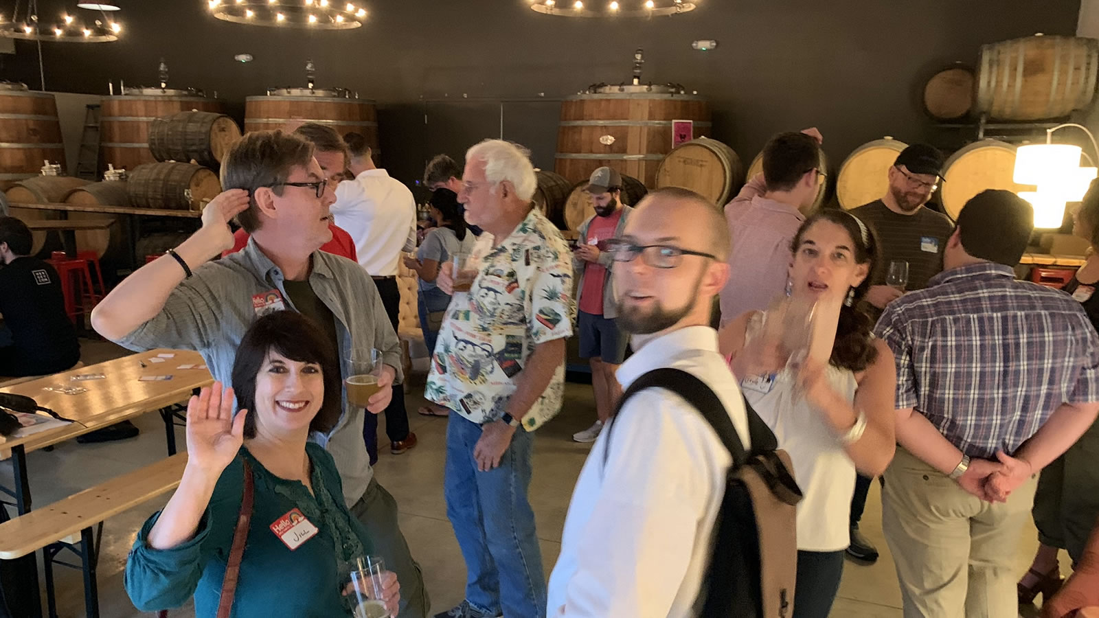 "Even more people arrive at the ""Coders, Creatives, and Craft Beer"" meetup, 7venth Sun Brewery, Tampa, July 9, 2019."