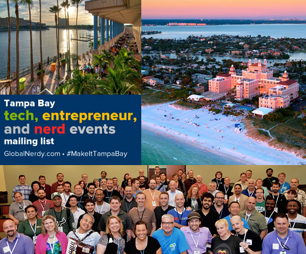 Banner for the Tampa Bay tech, entrepreneur, and nerd events mailing list.