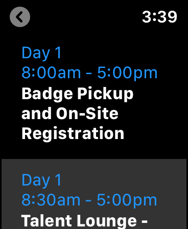 "Screenshot of ""Day 1"" screen showing a list of Day 1's events."