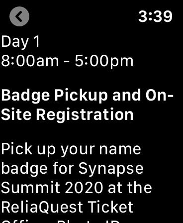 Screenshot showing details of an event.
