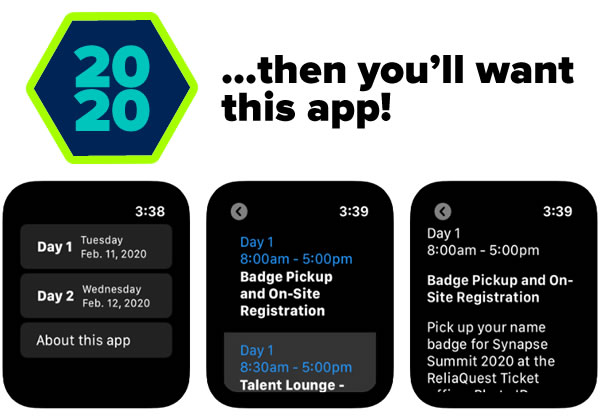 "...then you'll want this app! [Screenshots of ""Big Event 2020"" Apple Watch app]"