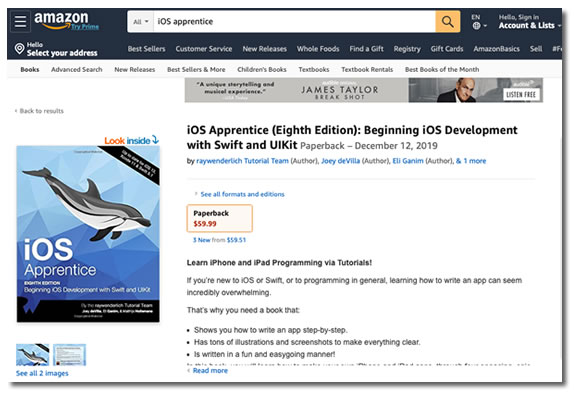 "Screen capture of the Amazon.com page for ""iOS Apprentice 8th edition"""